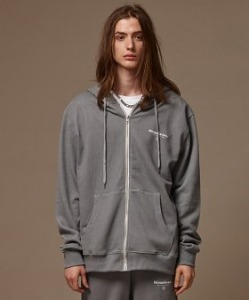 PIGMENT WASHED ZIPUP HOODIE (GREY)